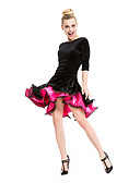baratos Camisetas Femininas-Dança Latina Vestidos e Saias Mulheres Espetáculo Veludo / Viscose Franzido Meia Manga Vestido / Samba
