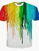billige T-skjorter og singleter til herrer-Rund hals T-skjorte Herre - Regnbue, Trykt mønster Aktiv Sport Hvit / Kortermet / Sommer