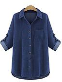 ราคาถูก เสื้อเชิ้ตสำหรับสุภาพสตรี-สำหรับผู้หญิง ขนาดพิเศษ เชิร์ต พื้นฐาน ฮอลิเดย์ คอเสื้อเชิ้ต สีพื้น สีฟ้า