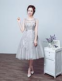 Χαμηλού Κόστους Φορέματα κοκτέιλ-Βραδινή τουαλέτα Illusion Seckline Κάτω από το γόνατο Δαντέλα / Τούλι Κοκτέιλ Πάρτι / Καλωσόρισμα / Χοροεσπερίδα Φόρεμα 2020 με Χάντρες / Δαντέλα