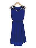 olcso Női ruhák-Női Alkalmi Sifon Swing Ruha - Strassz, Egyszínű Térd feletti V-alakú Kék