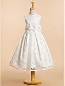 ราคาถูก เดรสสาวดอกไม้-A-line ต่ำกว่าเข่า ชุดสาวดอกไม้ - ลูกไม้ เสื้อไม่มีแขน ตักคอ กับ โบว์ / ลูกไม้ / ดอกไม้ โดย LAN TING BRIDE®