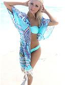 ราคาถูก เสื้อโปโลสำหรับผู้ชาย-สำหรับผู้หญิง โบโฮ ลวดลายดอกไม้ พู่ พรวดพราด Neckline คล้องไหล่ ฟ้า รวมด้วย ชุดว่ายน้ำ - Tribal ลายพิมพ์ ขนาดเดียว ฟ้า / ไร้สาย / บราไร้แผ่นรอง