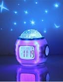 baratos Relógios de luxo-música estrela céu estrelado digital led projeção projetor despertador calendário