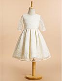 זול שמלות לילדות פרחים-גזרת A באורך  הברך שמלה לנערת הפרחים - תחרה חצי שרוול עם תכשיטים עם תחרה על ידי LAN TING BRIDE®