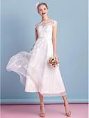 billiga Brudklänningar-A-linje Bateau Neck Telång Organza Remmar Liten vit klänning / Genomskinliga Bröllopsklänningar tillverkade med Rosett / Applikationsbroderi / Spets 2020