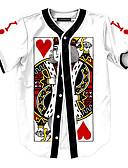 billige T-skjorter og singleter til herrer-Rund hals T-skjorte Herre - Geometrisk, Trykt mønster Aktiv Hvit / Kortermet / Sommer