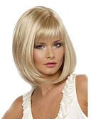 billige Quartz horlogesQuartz-Syntetiske parykker Rett Rett Bobfrisyre Med lugg Parykk Blond Kort Blond Syntetisk hår Dame Varme resistent Side del Blond