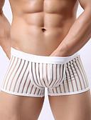 ราคาถูก ชุดลำลองชาย-สำหรับผู้ชาย ตารางไขว้, ลายแถบ - ซูเปอร์เซ็กซี่ กางเกงในบ็อกเซอร์ ไนลอน ข้อมือระดับกลาง