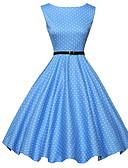 ราคาถูก ชุดเดรสวินเทจ-สำหรับผู้หญิง วินเทจ 1950s รูปตัว เอ แต่งตัว - ลายพิมพ์, ลายจุด ยาวถึงเข่า