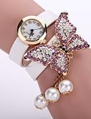 ราคาถูก นาฬิกาข้อมือ-สำหรับผู้หญิง สุภาพสตรี นาฬิกาสร้อยข้อมือ นาฬิกาเพชร นาฬิกาอิเล็กทรอนิกส์ (Quartz) หนัง ดำ / สีขาว / ฟ้า นาฬิกาใส่ลำลอง ระบบอนาล็อก ดอกไม้ แฟชั่น - สีเขียว สีชมพู สีฟ้า