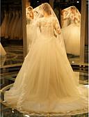 ราคาถูก ม่านสำหรับงานแต่งงาน-ชั้นเดียว งานผ้าขอบลายลูกไม้ ผ้าคลุมหน้าชุดแต่งงาน ผ้าคลุมหน้าในโบสถ์ กับ ลายปัก ลูกไม้ / Tulle / Angel cut / Waterfall