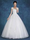 billiga Brudklänningar-Balklänning Scoop Neck Golvlång Satäng / Tyll Remmar Bröllopsklänningar tillverkade med Spets 2020