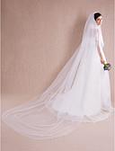 ราคาถูก ม่านสำหรับงานแต่งงาน-Two-tier ตัดมุม ผ้าคลุมหน้าชุดแต่งงาน ผ้าคลุมหน้าในโบสถ์ กับ ไข่มุก / เข็มกลัด 118.11นิ้ว (300ซม.) Tulle