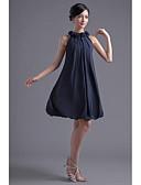 billige Brudepikekjoler-A-linje Besmykket Knelang Chiffon Cocktailfest Kjole med Drapering / Blomst av TS Couture®