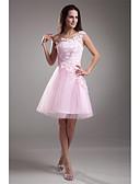 Χαμηλού Κόστους Φορέματα κοκτέιλ-Γραμμή Α Ένας Ώμος Μέχρι το γόνατο Δαντέλα πάνω από τούλι χαριτωμένο στυλ / See Through Κοκτέιλ Πάρτι / Χοροεσπερίδα Φόρεμα 2020 με Εισαγωγή δαντέλας