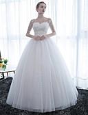 Χαμηλού Κόστους Νυφικά-Βραδινή τουαλέτα Scoop Neck Μακρύ Σατέν / Δαντέλα πάνω από τούλι Μισό μανίκι Mordern Λάμψη & Στυλ Φορέματα γάμου φτιαγμένα στο μέτρο με Δαντέλα 2020 / Ψευδαίσθηση