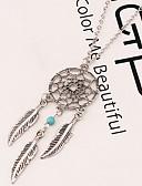 billiga Klänningar till brudens mor-Dam Hänge Halsband Långt halsband Fjäder Drömfångare Vintage Europeisk Mode Indianer Legering Silver Halsband Smycken Till Party Casual Arbete