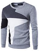 זול חולצות לגברים-בגדי ריקוד גברים פעיל מכנסיים - קולור בלוק טלאים שחור / צווארון עגול / שרוול ארוך / סתיו / חורף