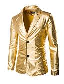זול ז'קטים-בגדי ריקוד גברים זהב שחור כסף XL XXL XXXL בלייזר מתוחכם / מוּגזָם אחיד רזה Party / מועדונים / שרוול ארוך