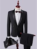 billige Dresser-Svart Ensfarget Slank Fasong Polyester / Viskose Dress - Buet Enkelt Brystet Enn-knapp