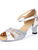 ราคาถูก เสื้อยืดสำหรับสุภาพสตรี-สำหรับผู้หญิง รองเท้าเต้นรำ เลื่อม ลาติน / Salsa หัวเข็มขัด รองเท้าแตะ ส้นหนา ไม่ตัดเฉพาะ เงิน / น้ำเงิน / ทอง / หนังนิ่ม / EU42