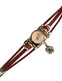 ราคาถูก ชุดเดรสวินเทจ-สำหรับผู้หญิง นาฬิกาสร้อยข้อมือ นาฬิกาอิเล็กทรอนิกส์ (Quartz) หนัง น้ำตาล นาฬิกาใส่ลำลอง ระบบอนาล็อก วินเทจ - สีน้ำตาล
