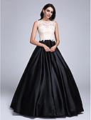ราคาถูก ชุดเพื่อนเจ้าสาว-บอลกาวน์ Illusion Neckline ลากพื้น ซาตินยืด / ปักลูกปัด Color Block ทางการ แต่งตัว กับ เข็มกลัด โดย TS Couture®