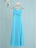 Χαμηλού Κόστους Βραδινά Φορέματα-Τρομπέτα / Γοργόνα Λουριά Μακρύ Σιφόν Φόρεμα Νεαρών Παρανύμφων με Χιαστί / Φυσικό