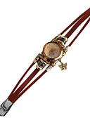 ราคาถูก ชุดเดรสพิมพ์ลาย-ของสตรี นาฬิกาสร้อยข้อมือ นาฬิกาอิเล็กทรอนิกส์ (Quartz) นาฬิกาใส่ลำลอง หนัง วงดนตรี Vintage น้ำตาล สีน้ำตาล