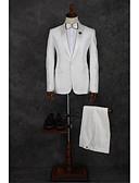 זול טוקסידו-לבן דפוס גזרה מחוייטת פוליאסטר חליפה - סגור Single Breasted One-button / חליפות