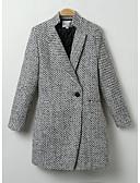 זול כבל & מטענים iPhone-בגדי ריקוד נשים ליציאה שיק ומודרני חורף רגיל מעיל, אחיד שרוול ארוך פוליאסטר סגנון מודרני שחור