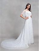 billiga Brudklänningar-A-linje Bateau Neck Hovsläp Heltäckande spets Halvlång ärm Blommig spets Bröllopsklänningar tillverkade med Spets 2020