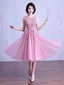 ราคาถูก Special Occasion Dresses-บอลกาวน์ อัญมณี ต่ำกว่าเข่า ซาติน / ปักด้วยดอกทิวลิป เพื่อนเจ้าสาวชุด กับ ของประดับด้วยลูกปัด / ลูกไม้ / ริบบิ้น โดย LAN TING Express