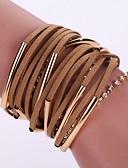 billiga Blus-Dam Armband av Remmar Läder Armband Multi lager Tofs Bohemisk Mode Bohem Multi lager Läder Armband Smycken Svart / Brun Till Party Dagligen Casual / Bergkristall