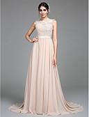 baratos Vestidos de Casamento-Linha A Ilusão Decote Cauda Corte Chiffon / Corpete de Renda Elegante / Cores pastel Evento Formal / Feriado Vestido 2020 com Apliques / Faixa / Fita