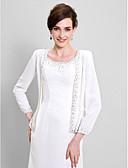 ราคาถูก ผ้าคลุมสำหรับชุดแต่งงาน-แขนยาว ชิฟฟอน งานแต่งงาน / Party / Evening Women's Wrap กับ ของประดับด้วยลูกปัด โค้ท / แจ๊คเก็ต