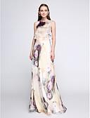 olcso Női ruhák-Szűk szabású Ékszer Földig érő Sifon Kétrészes Diákbál Ruha val vel Minta által TS Couture®