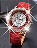 baratos Relógios de quartzo-Mulheres Relógios Luxuosos Relógios Femininos com Cristais Relógio de diamante Quartzo Couro Preta / Branco / Vermelho Relógio Casual Analógico senhoras Fashion Elegante - Marron Vermelho Verde