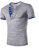ราคาถูก เสื้อยืดและเสื้อกล้ามผู้ชาย-สำหรับผู้ชาย เสื้อเชิร์ต Sport สีพื้น สีน้ำเงินกรมท่า / แขนสั้น / ฤดูร้อน