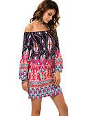 זול שמלות מיני-מנוף סירה מתחת לכתפיים מיני דפוס, שבטי - שמלה ישרה בוהו חוף בגדי ריקוד נשים