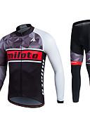 ราคาถูก กางเกงผู้หญิง-Miloto สำหรับผู้ชาย สำหรับผู้หญิง แขนยาว Cycling Jersey with Tights สีดำ จักรยาน ชุดออกกำลังกาย 3D Pad Sweat-wicking ฤดูหนาว กีฬา สแปนเด็กซ์ ความเย็นสุด® ตารางไขว้ Mosaic ขี่จักรยานปีนเขา Road Cycling