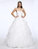 olcso Menyasszonyi ruhák-Báli ruha Szív-alakú Kápolna uszály Organza Made-to-measure esküvői ruhák val vel Gyöngydíszítés / Cakkos által LAN TING BRIDE®