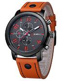 ราคาถูก นาฬิกาข้อมือสายหนัง-สำหรับผู้ชาย นาฬิกาข้อมือ สายการบิน นาฬิกาอิเล็กทรอนิกส์ (Quartz) หนัง ดำ / น้ำตาล นาฬิกาใส่ลำลอง / ระบบอนาล็อก เสน่ห์ คลาสสิก แฟชั่น - ส้ม สีน้ำตาล ฟ้า หนึ่งปี อายุการใช้งานแบตเตอรี่ / สแตนเลส