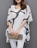 Χαμηλού Κόστους T-shirt-Γυναικεία Μεγάλα Μεγέθη Μπλούζα Βασικό Γραφική, Μανίκι Νυχτερίδα Φαρδιά Πλισέ / Στάμπα Ασπρόμαυρο Λευκό / Καλοκαίρι / flare μανίκι