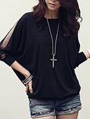 Χαμηλού Κόστους Μακριά Φορέματα-Γυναικεία Μεγάλα Μεγέθη Μπλούζα Βαμβάκι Μονόχρωμο, Μανίκι Νυχτερίδα Φαρδιά Μαύρο