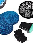 billige Neglestempling-12 pcs Stampplate Mal Stilig Design Neglekunst Manikyr pedikyr Stilfull / Mote Daglig / stempling Plate / Metall