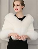 olcso Női szőrme és műszőrme kabátok-Női Alkalmi Vintage Tél Rövid Szőrmekabát, Egyszínű Sálhajtóka Ujjatlan Műszőrme Fekete / Fehér / Denevérujj