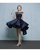 Χαμηλού Κόστους Φορέματα κοκτέιλ-Γραμμή Α Illusion Seckline Ασύμμετρο Δαντέλα / Σατέν / Τούλι Κοντό Μπροστά Μακρύ Πίσω / χαριτωμένο στυλ Κοκτέιλ Πάρτι / Καλωσόρισμα Φόρεμα 2020 με Διακοσμητικά Επιράμματα / Πιασίματα