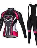 Χαμηλού Κόστους Γυναικείες μακριές και μίνι ολόσωμες φόρμες-Malciklo Γυναικεία Μακρυμάνικο Αθλητική φανέλα και κολάν ποδηλασίας Μαύρο Λευκό Βυσσινί Γεωμτερικό Βρετανικό Μεγάλα Μεγέθη Ποδήλατο Καλσόν Ποδηλασία Ρούχα σύνολα Αναπνέει 3D Pad Γρήγορο Στέγνωμα
